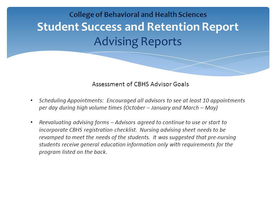 Assessment of CBHS Advisor Goals