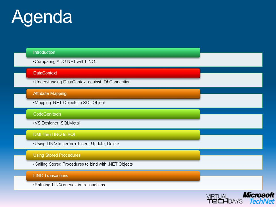 Agenda Introduction Comparing ADO.NET with LINQ DataContext