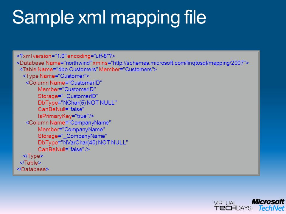 Sample xml mapping file