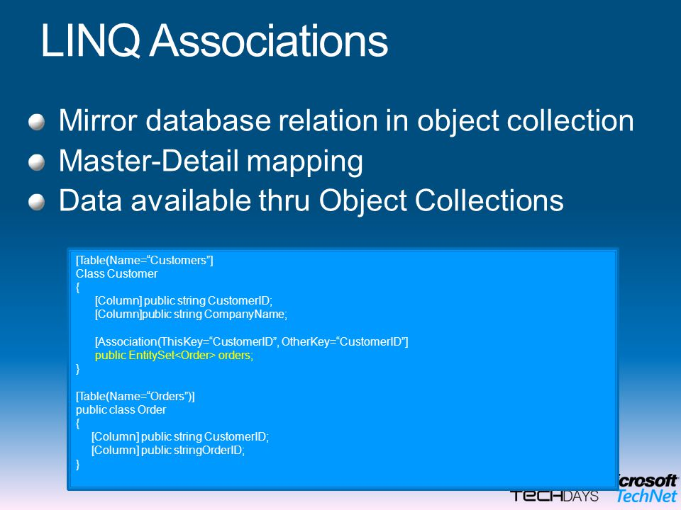 LINQ Associations Mirror database relation in object collection