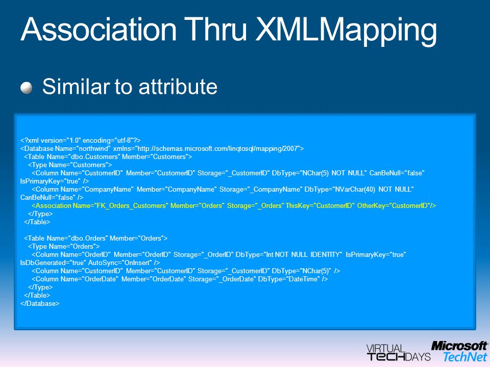 Association Thru XMLMapping