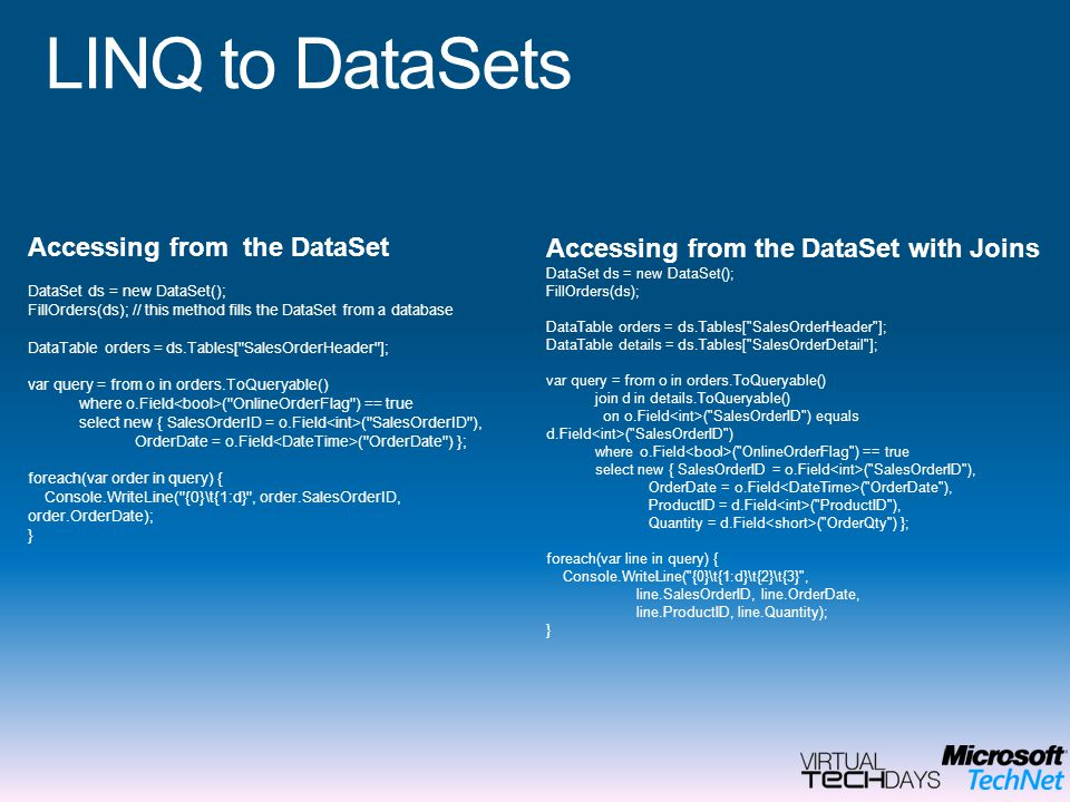 LINQ to DataSets Accessing from the DataSet with Joins