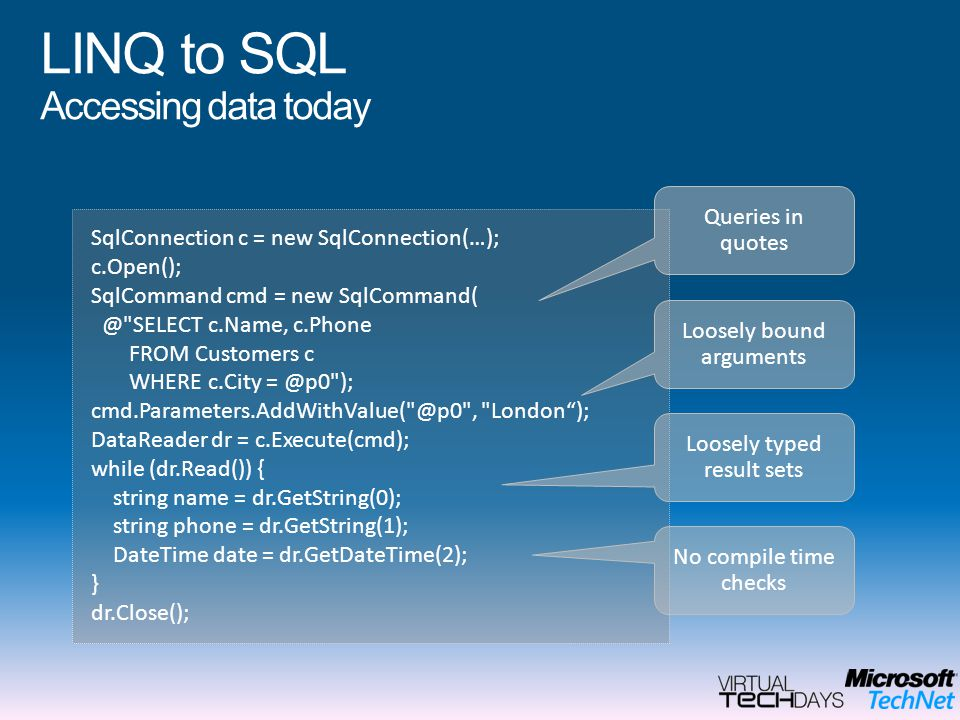 LINQ to SQL Accessing data today