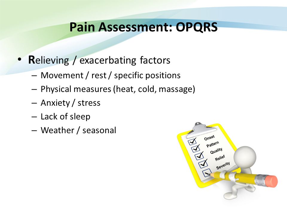 Pain Assessment: OPQRS