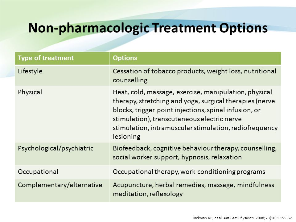 Non-pharmacologic Treatment Options