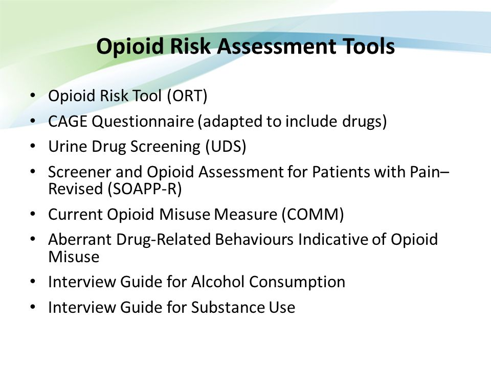 Opioid Risk Assessment Tools