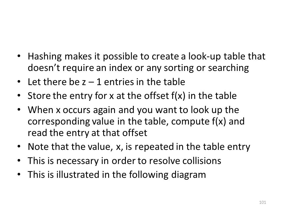 Hashing makes it possible to create a look-up table that doesn't require an index or any sorting or searching