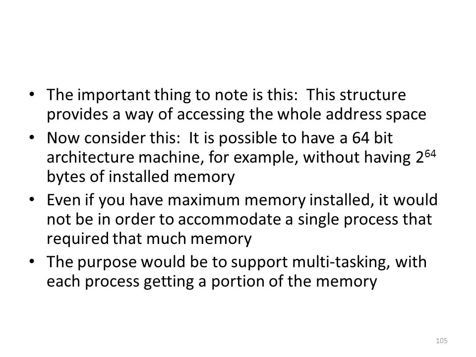 The important thing to note is this: This structure provides a way of accessing the whole address space