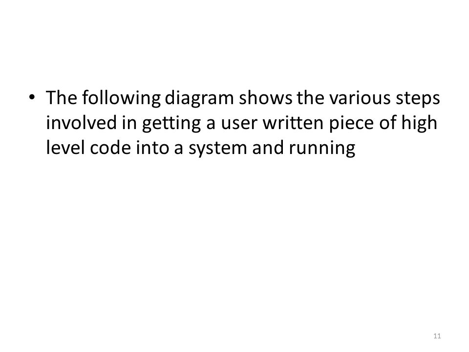 The following diagram shows the various steps involved in getting a user written piece of high level code into a system and running