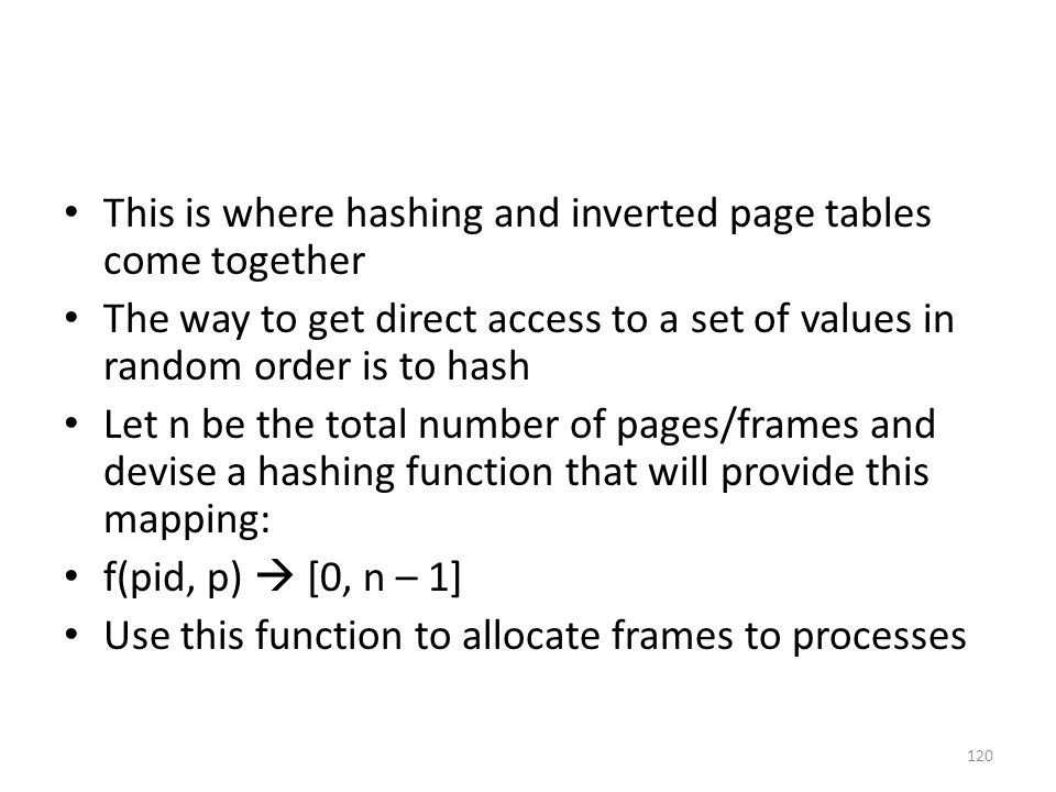 This is where hashing and inverted page tables come together