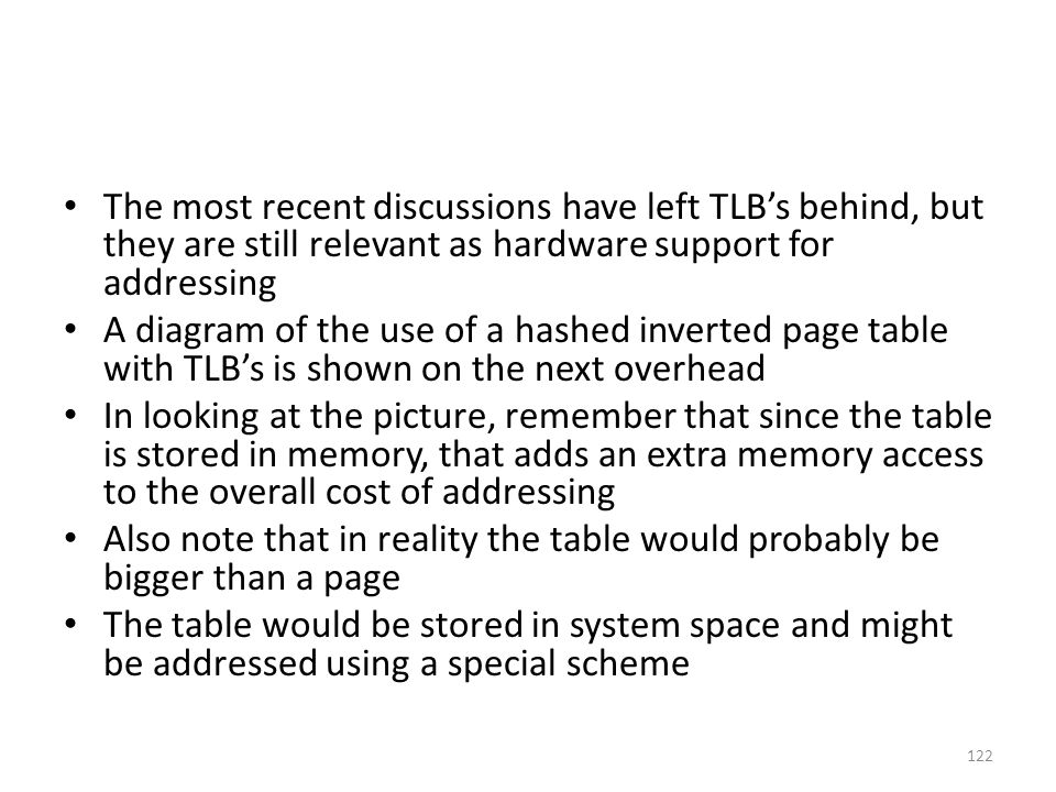 The most recent discussions have left TLB's behind, but they are still relevant as hardware support for addressing