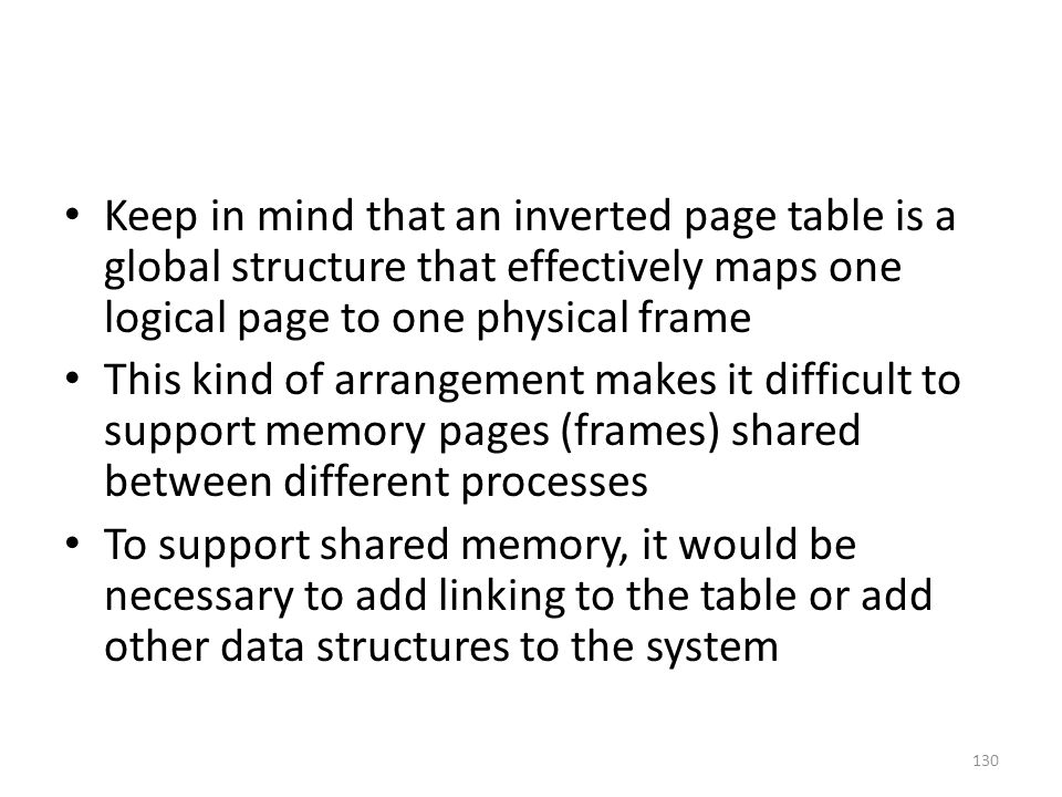 Keep in mind that an inverted page table is a global structure that effectively maps one logical page to one physical frame