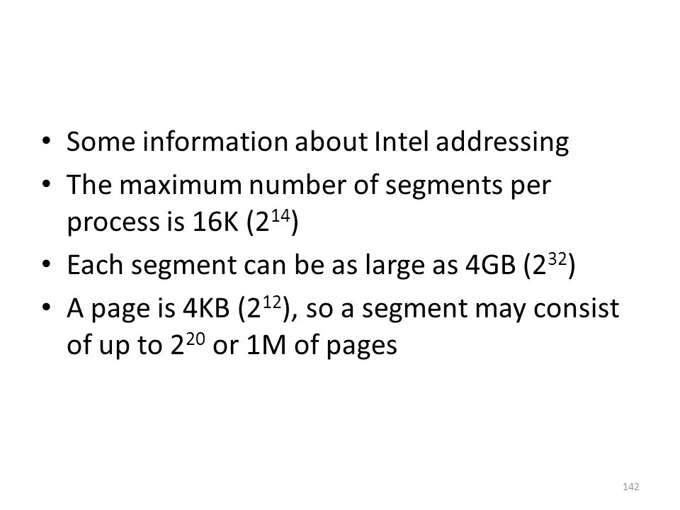 Some information about Intel addressing
