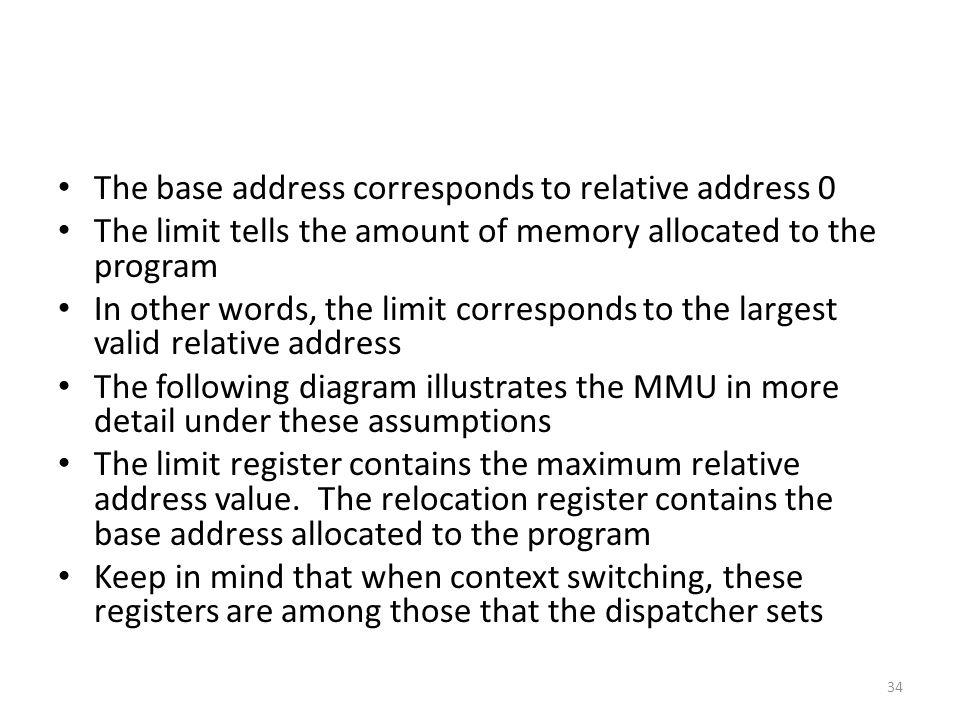 The base address corresponds to relative address 0