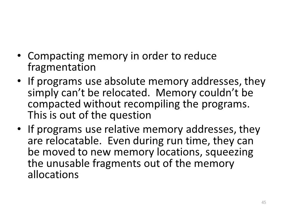 Compacting memory in order to reduce fragmentation