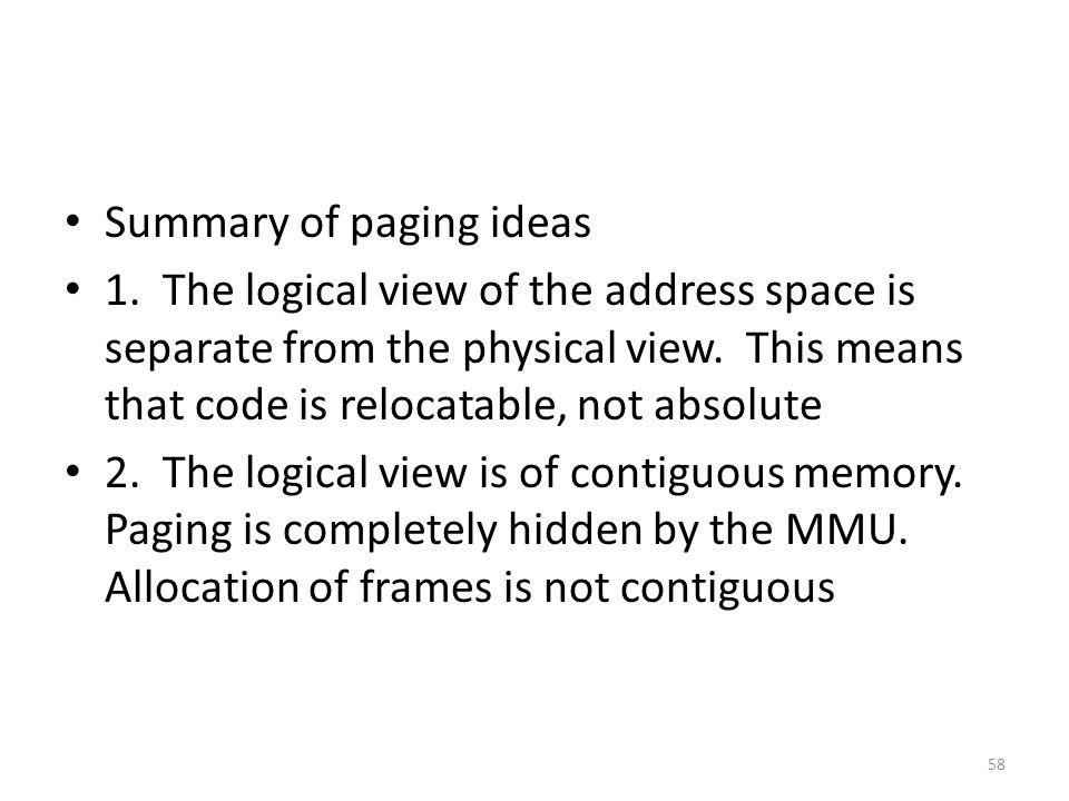 Summary of paging ideas