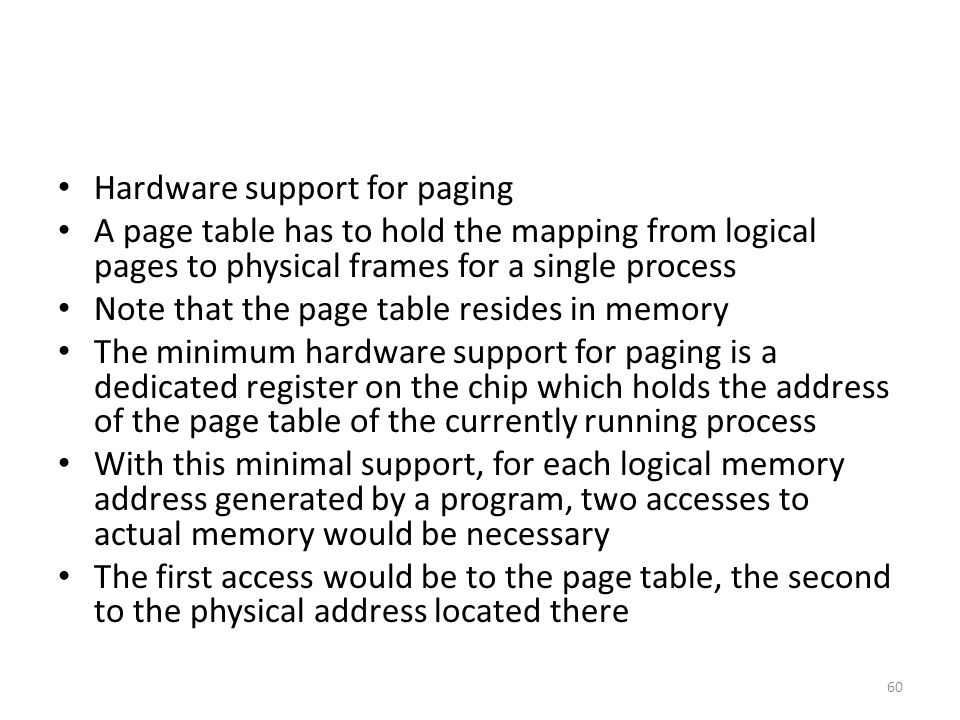 Hardware support for paging
