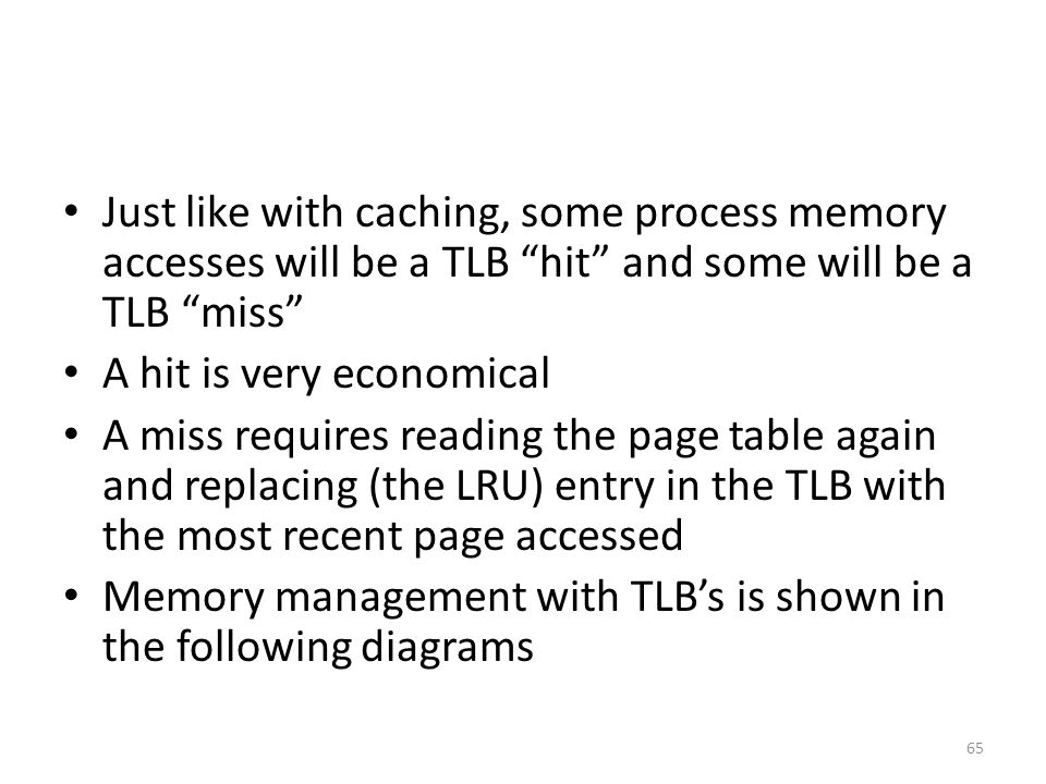 Just like with caching, some process memory accesses will be a TLB hit and some will be a TLB miss