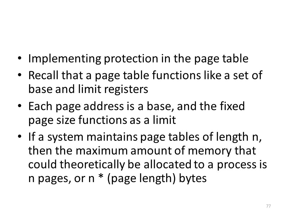 Implementing protection in the page table