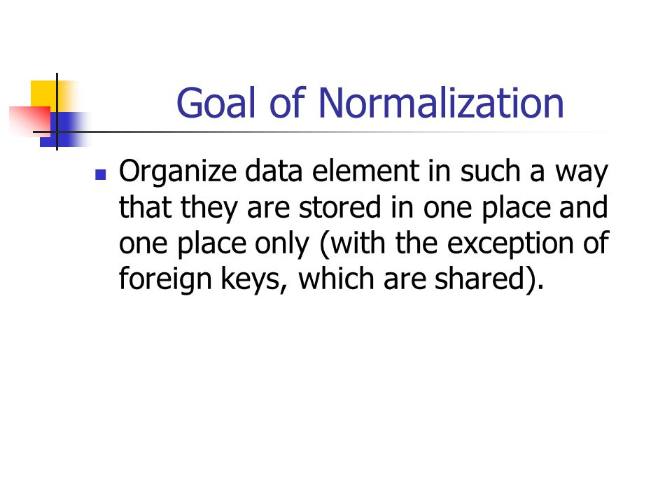 Goal of Normalization