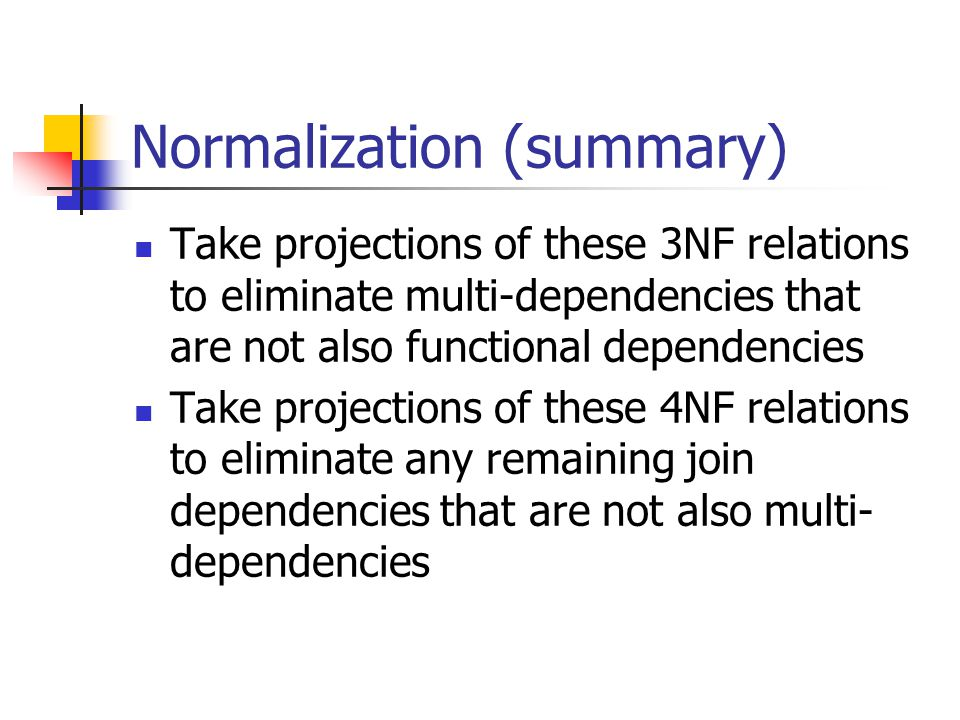 Normalization (summary)