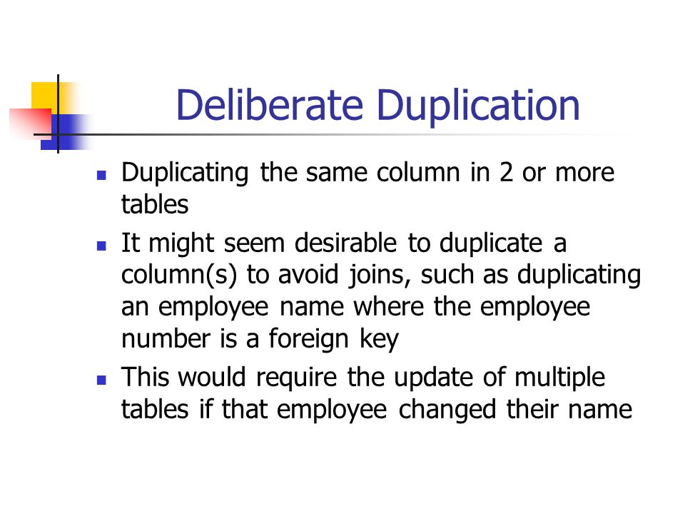 Deliberate Duplication