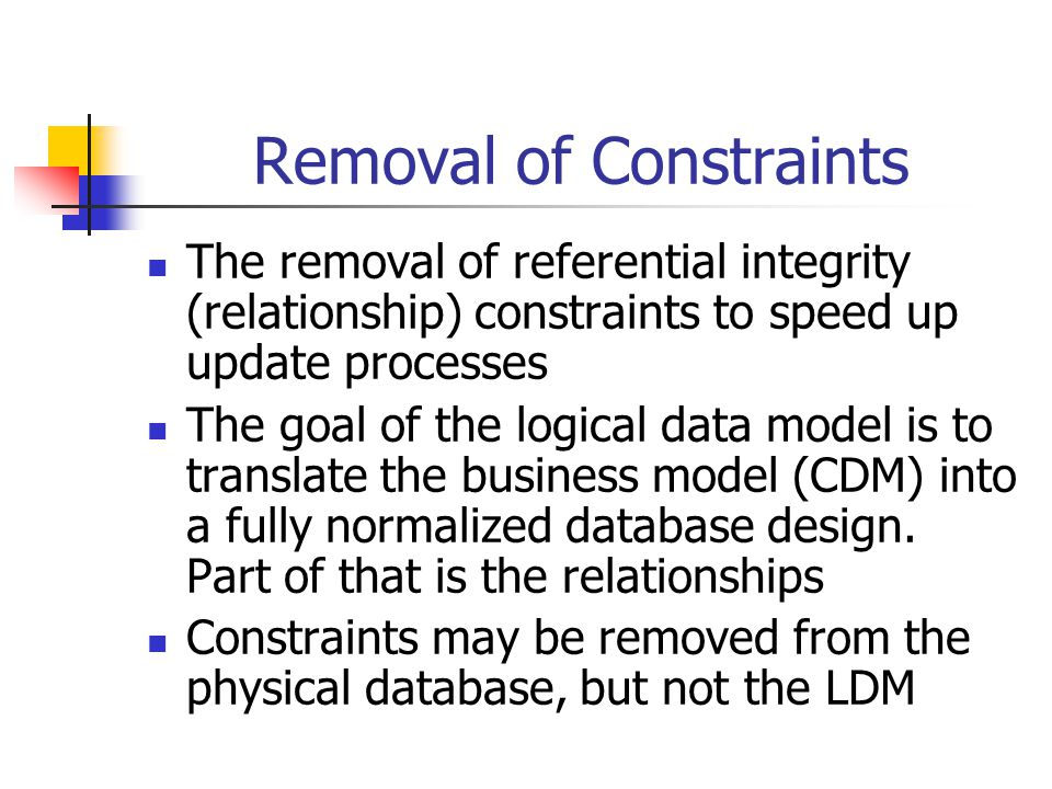 Removal of Constraints