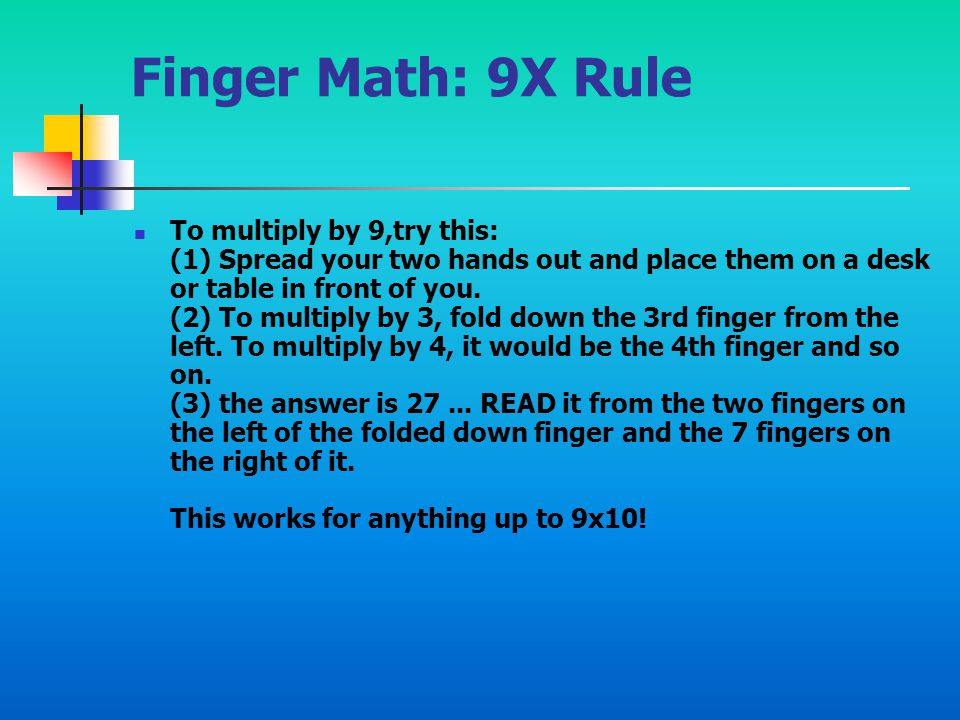 Finger Math: 9X Rule