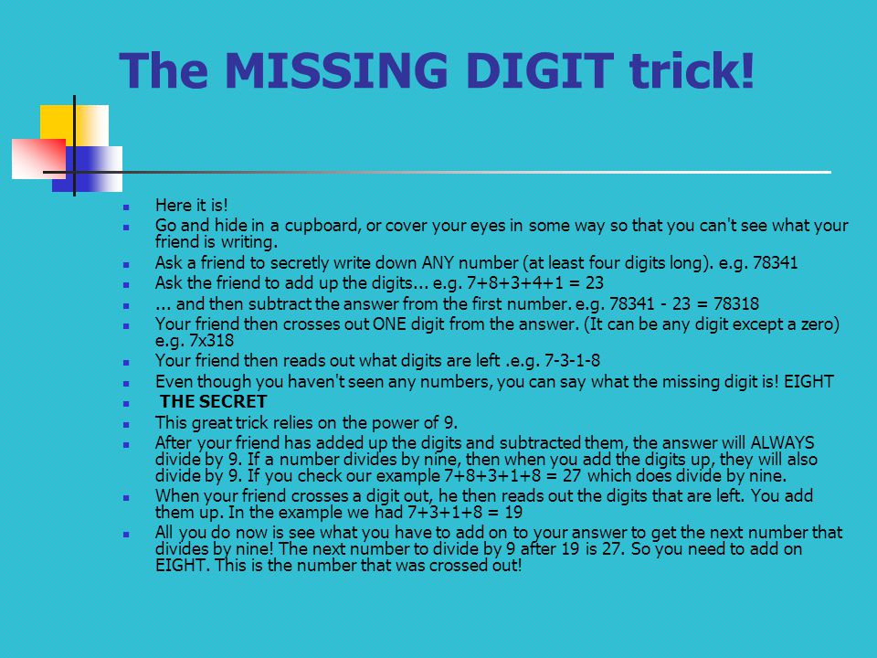 The MISSING DIGIT trick!