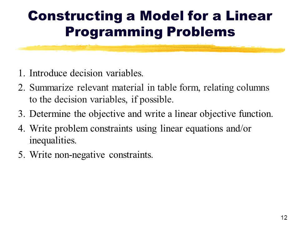 Constructing a Model for a Linear Programming Problems
