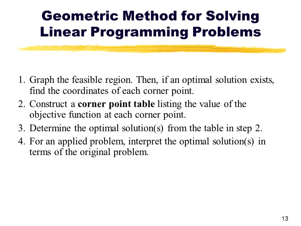 Geometric Method for Solving Linear Programming Problems