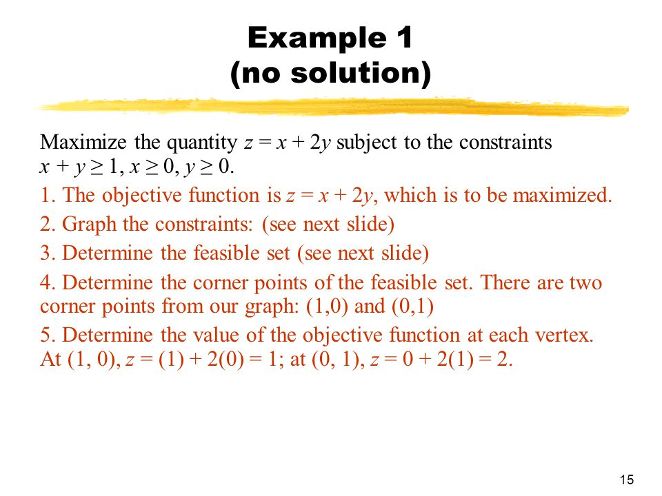 Example 1 (no solution) Maximize the quantity z = x + 2y subject to the constraints x + y ≥ 1, x ≥ 0, y ≥ 0.