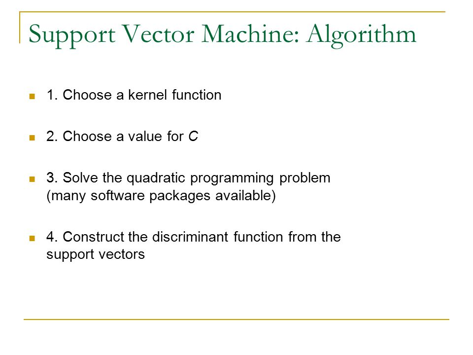 Support Vector Machine: Algorithm