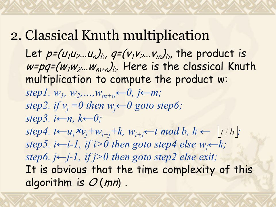2. Classical Knuth multiplication