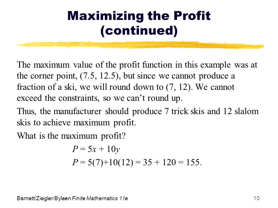 Maximizing the Profit (continued)
