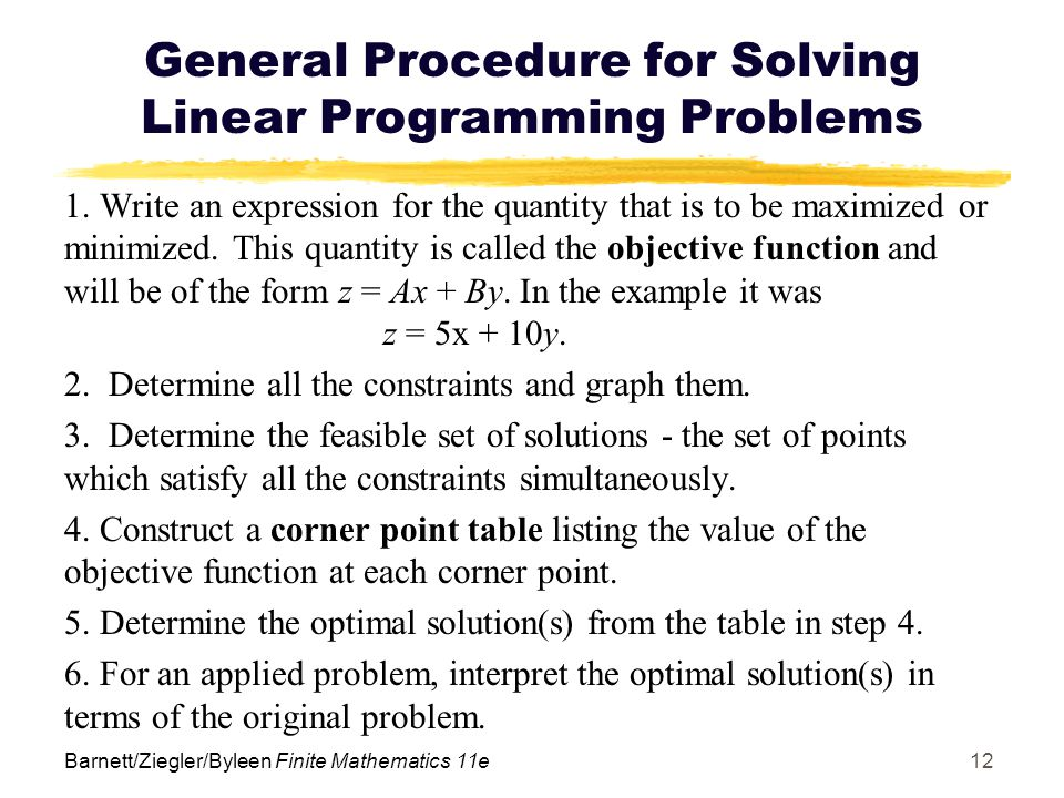 General Procedure for Solving Linear Programming Problems