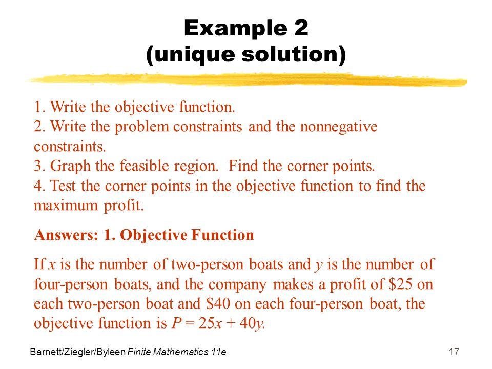 Example 2 (unique solution)