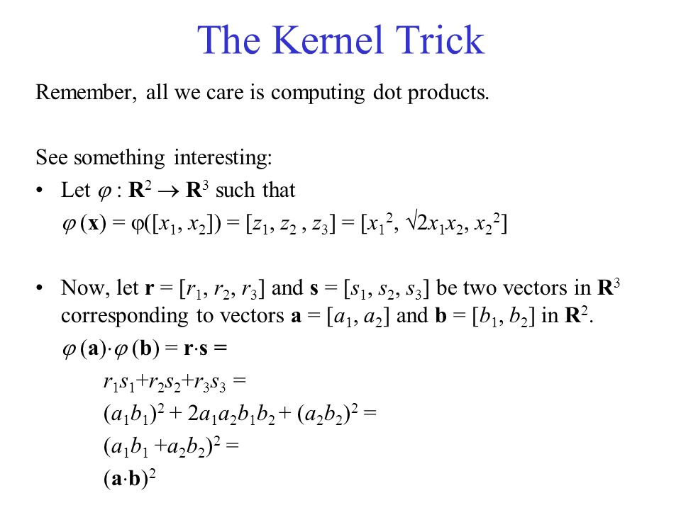 The Kernel Trick Remember, all we care is computing dot products.