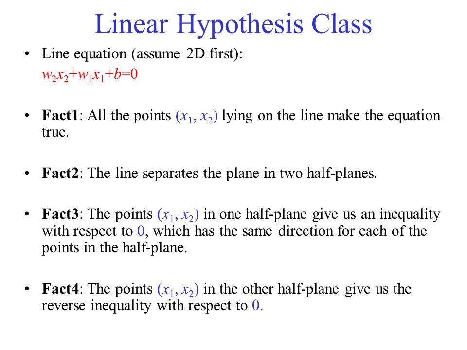 Linear Hypothesis Class