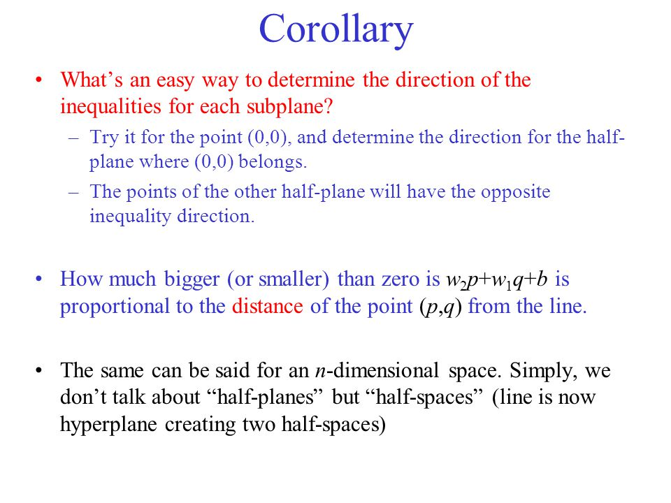 Corollary What's an easy way to determine the direction of the inequalities for each subplane