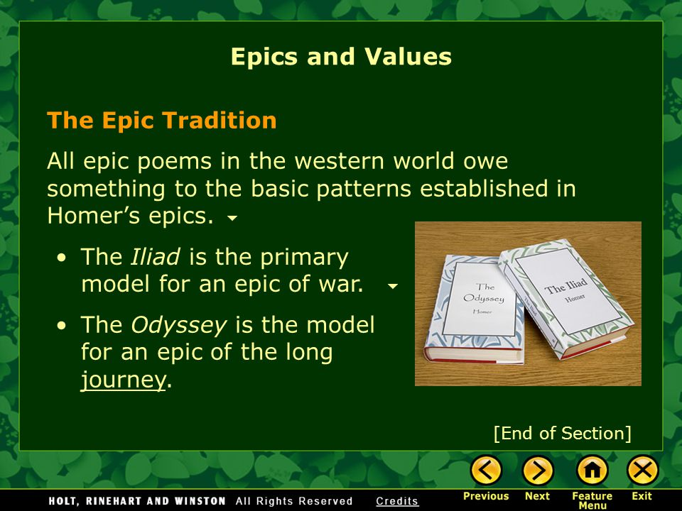 Epics and Values The Epic Tradition
