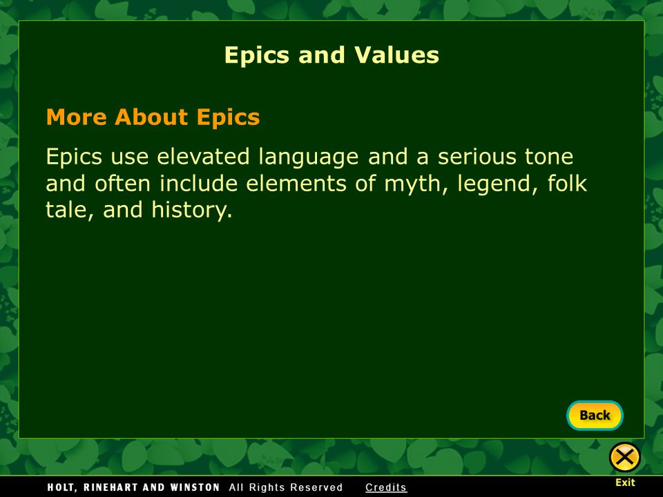 Epics and Values More About Epics