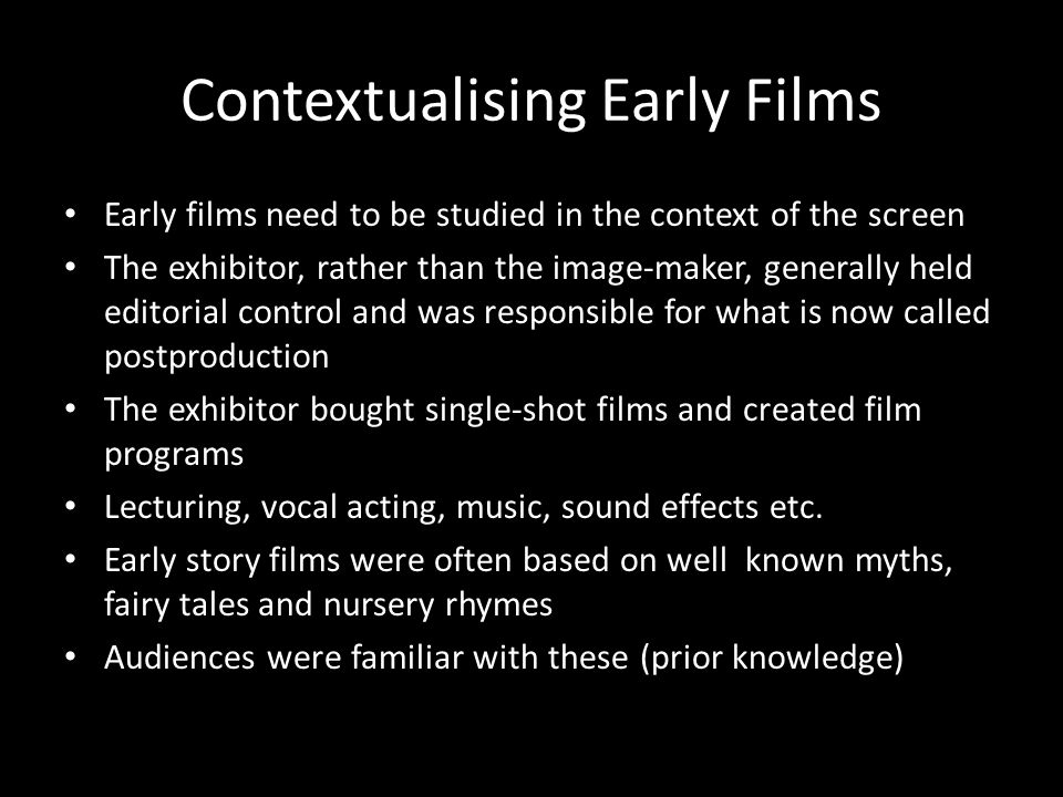 Contextualising Early Films
