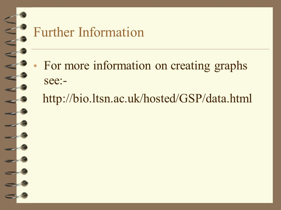 Further Information For more information on creating graphs see:-