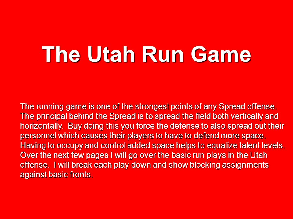 The Utah Run Game