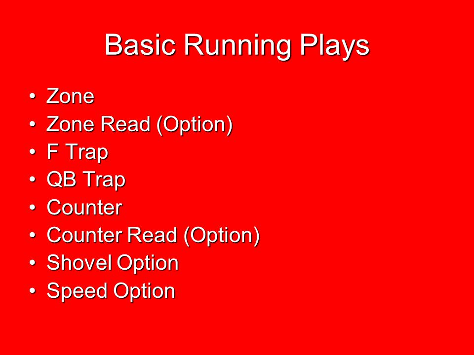 Basic Running Plays Zone Zone Read (Option) F Trap QB Trap Counter