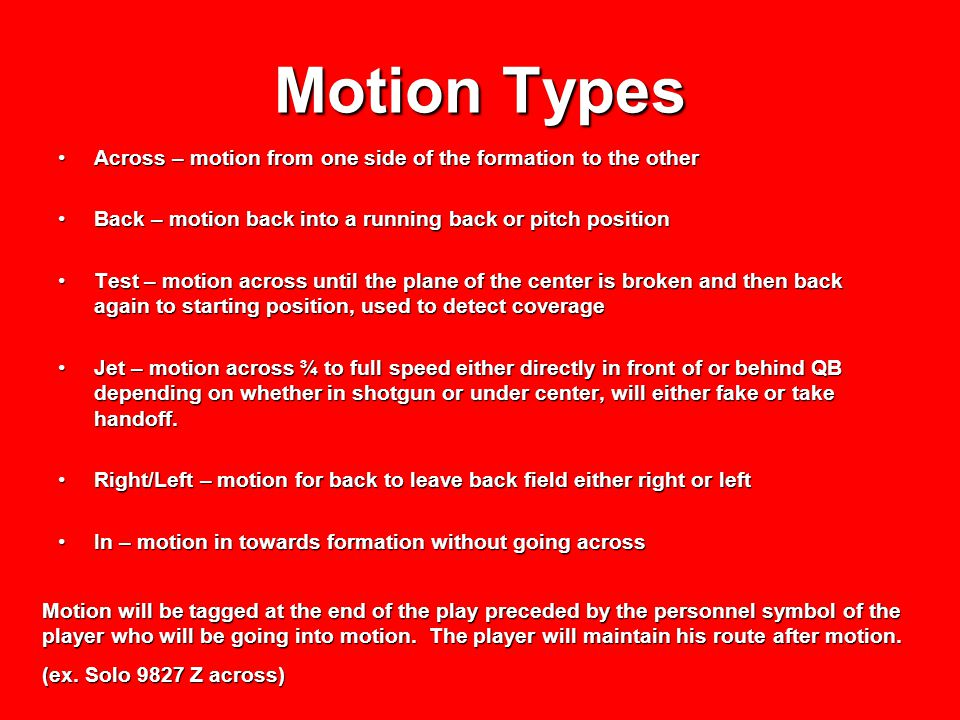 Motion Types Across – motion from one side of the formation to the other. Back – motion back into a running back or pitch position.