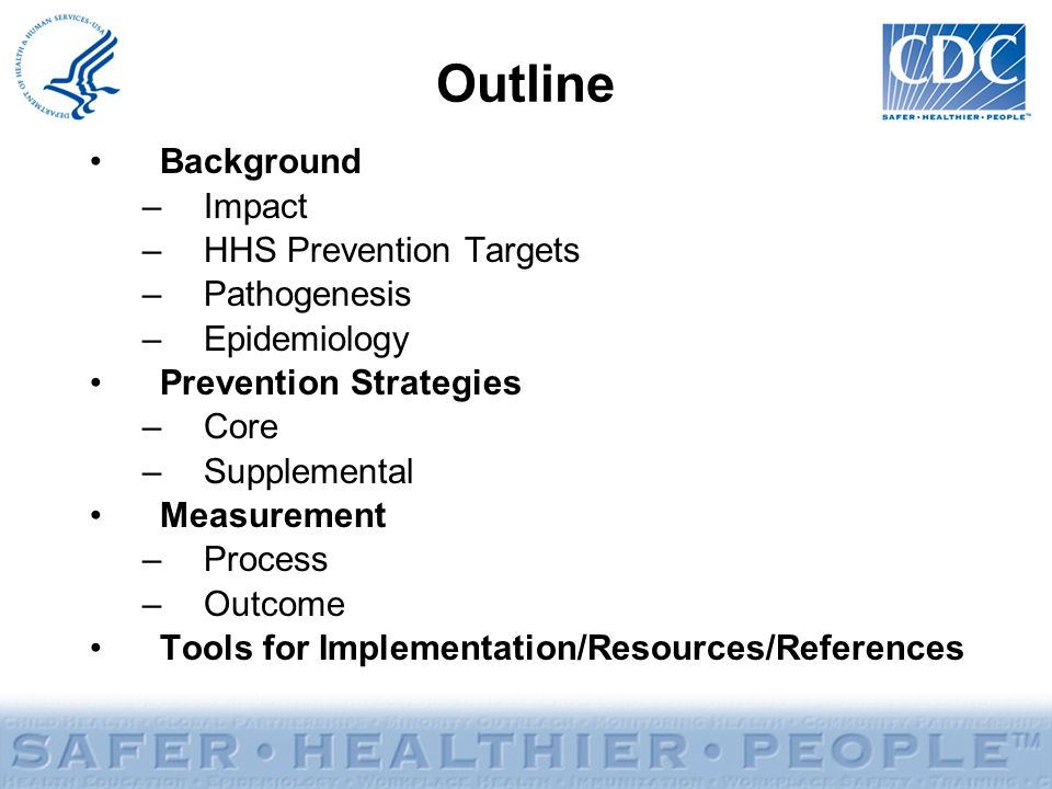 Outline Background Impact HHS Prevention Targets Pathogenesis