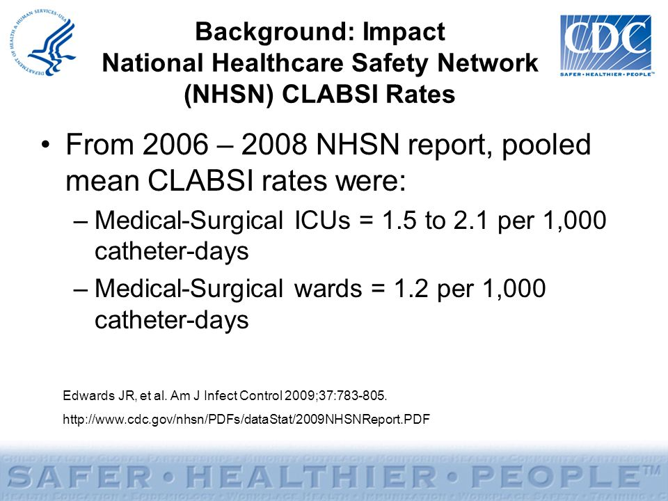 From 2006 – 2008 NHSN report, pooled mean CLABSI rates were: