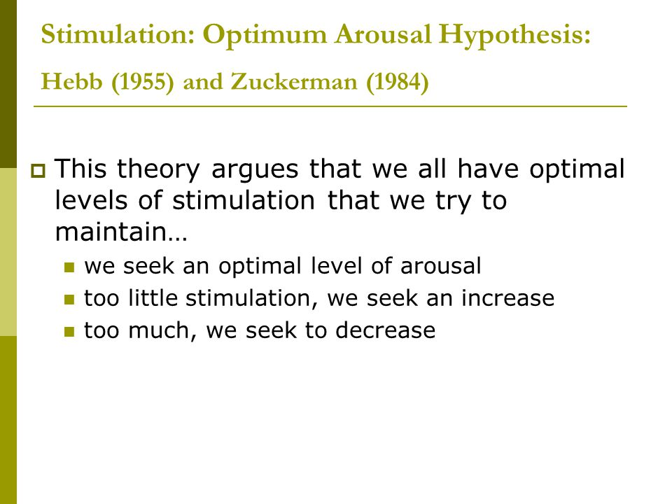 Stimulation: Optimum Arousal Hypothesis: Hebb (1955) and Zuckerman (1984)